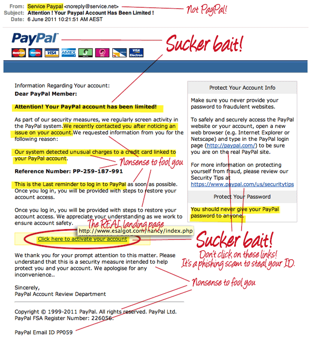 Fake PayPal scam emails and ten ways to recognise fake emails