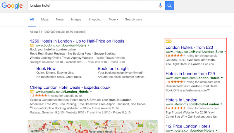 Google search with side ads