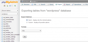 Moving WordPress websites to a new web host export the My SQL database