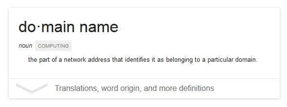 Good ... Domain Names Definition