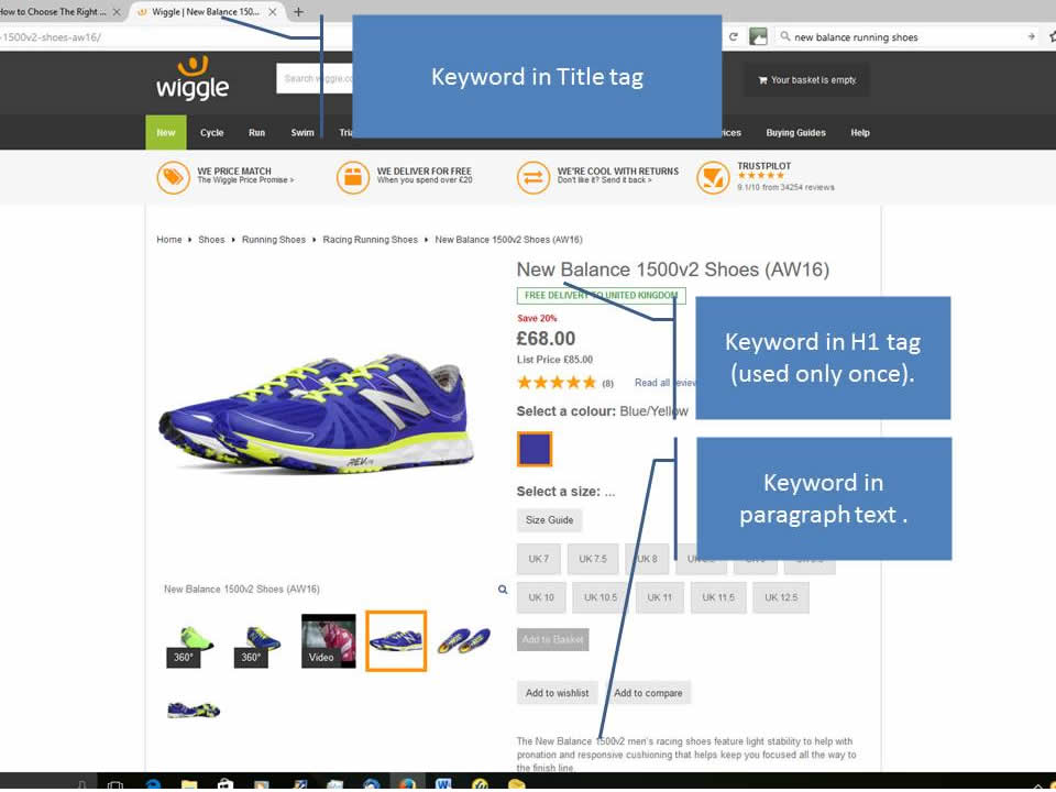 Example running shoe page from Wiggle.com