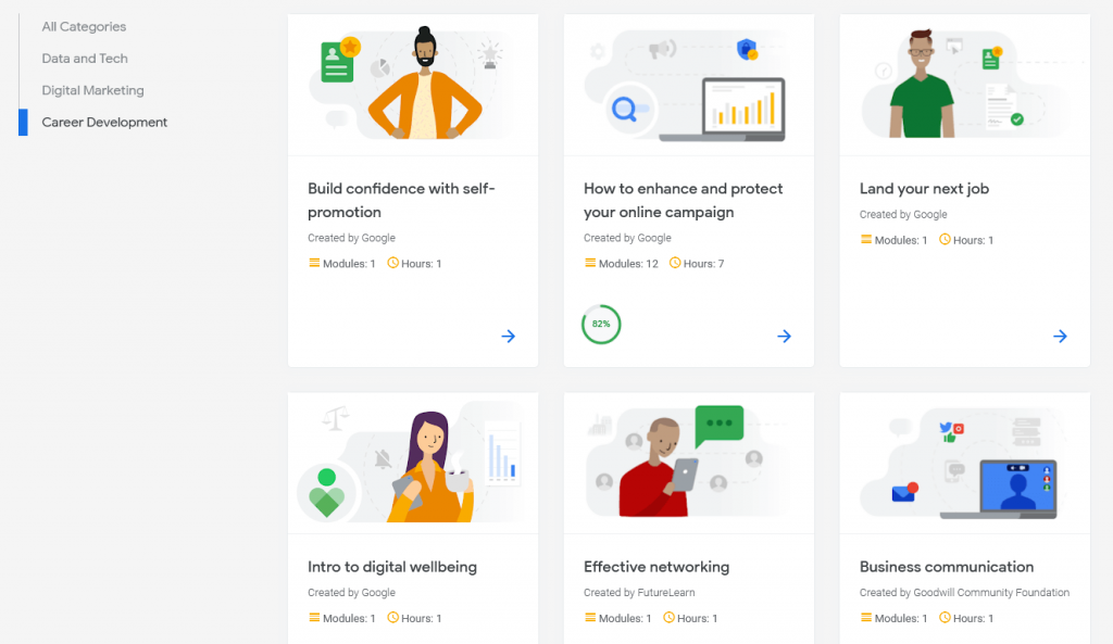 Career development courses with Google Digital Garage