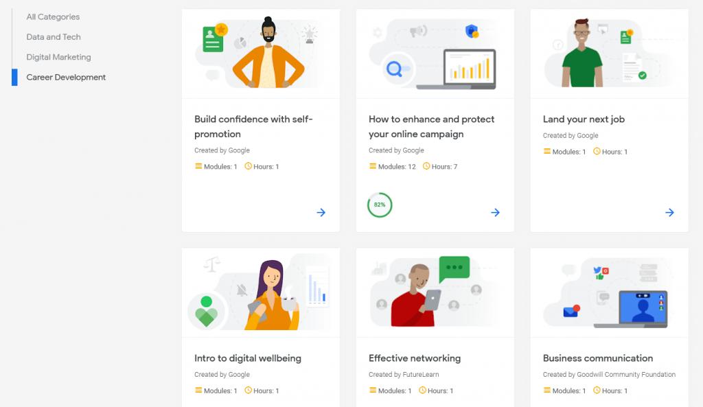 Career development courses with Google Digital Garage