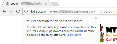 Google Chrome not secure message