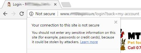 Google Chrome not secure message