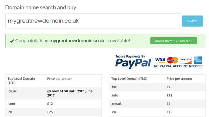 Domain name search and buy