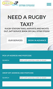 Responsive web design mobile Rugby Taxi, Dial-a-Cab