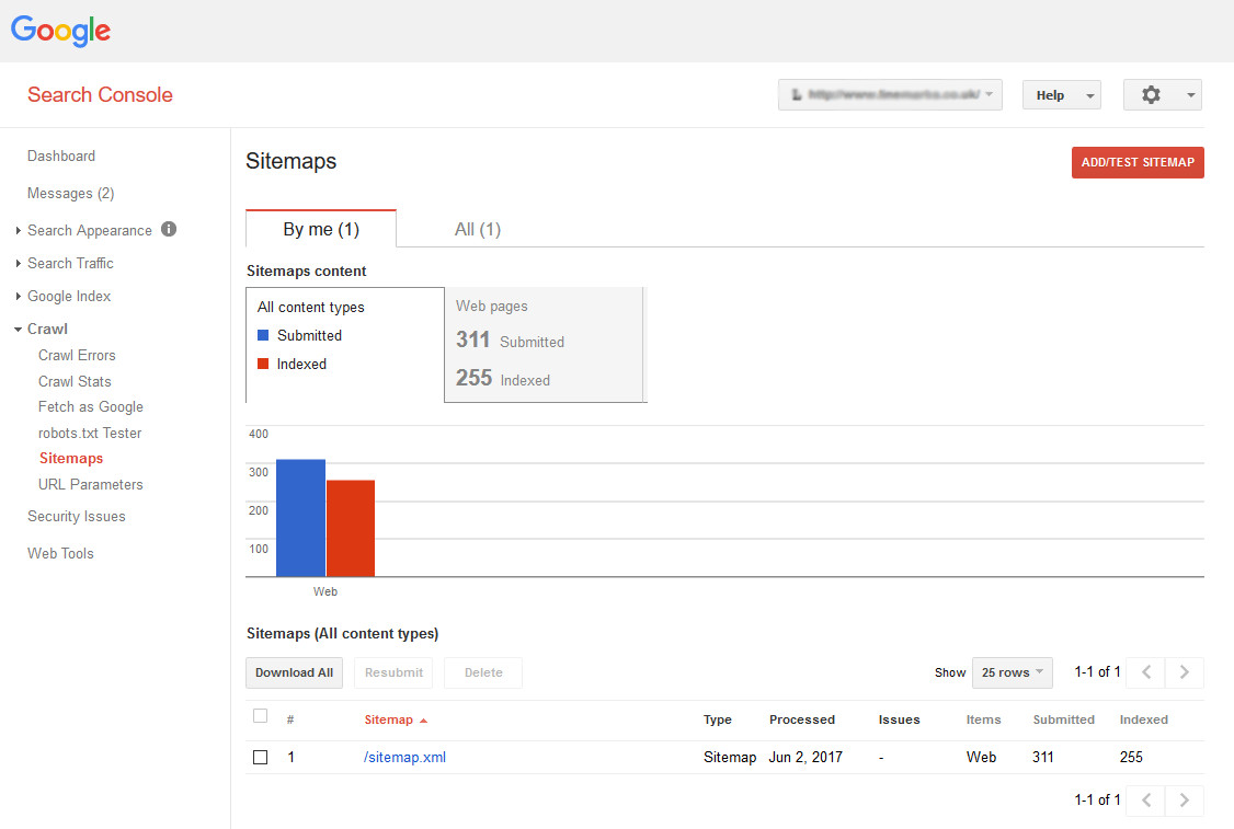 google search console sitemap web growth web design