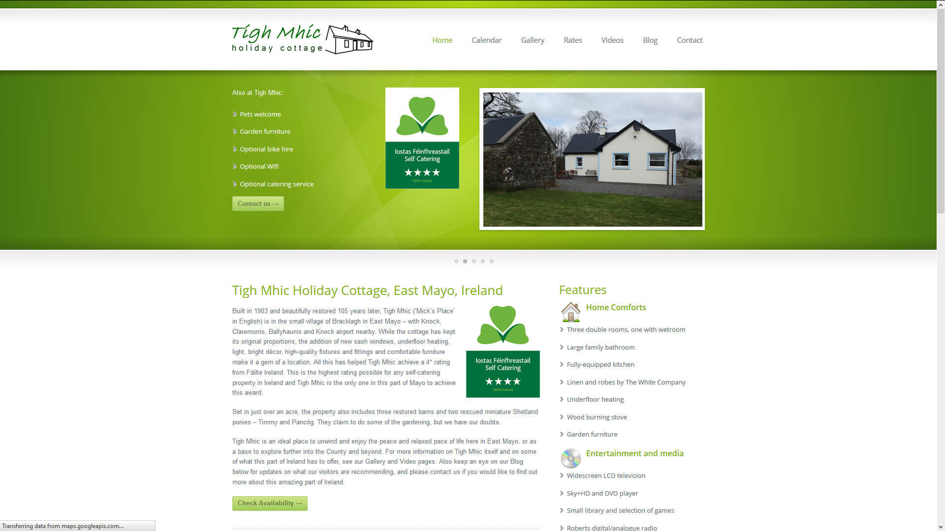 Holiday cottage home page