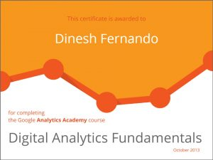 Google Digital Analytics Fundamentals certificate