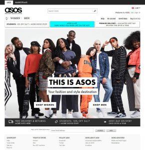 Asos home page Nov 2017