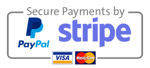 Secure payments by PayPal and Stripe