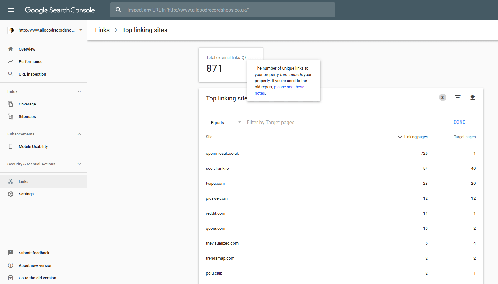 Google Search Console backlinks checker