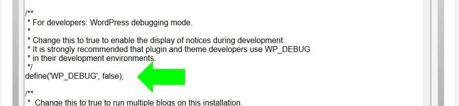 Edit wp-config.php debug line