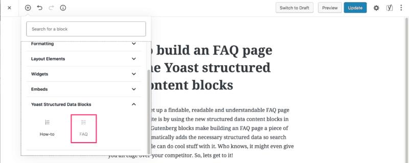 Yoast FAQ schema