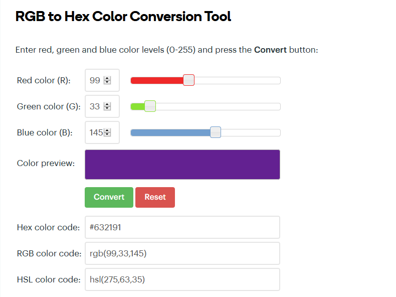 RGB to Hex online onverter tool